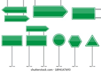 Green blank road signs. Advertising place. City illustration. Billboard design. Stock image. EPS 10.