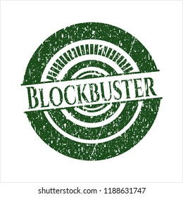 Green Blockbuster distressed rubber stamp