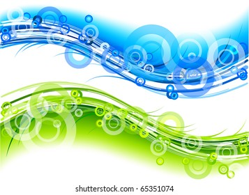 green and blue abstract graphic
