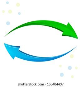 Green, blue arrow 3D.