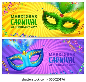 Green and blue carnival masks vector Mardi Gras invitation flyers with yellow and violet twisted backgrounds