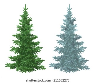 Green and blue Christmas spruce fir trees isolated on white background. Vector