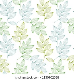 Green and blue elegant leaves with veins seamless pattern, vector