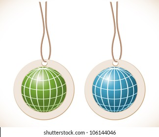 Green and blue globe, Label with cord