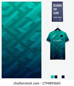 Green Blue gradient geometry shape abstract background. Fabric textile pattern design: soccer jersey, football kit, racing, e-sport, sport uniform. T-shirt mockup template design. Vector Illustration.