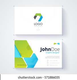 Green and blue graphic business card template. Card design.