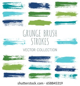 Green and blue ink paint brush splashes, watercolor brushstroke lines vector collection. Marker pen highlighting traces set. Acrylic smudges, dye stains, color combination. Graffiti hand painted dabs.