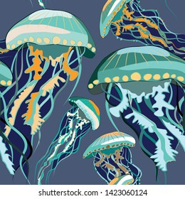 Green and blue jellyfish seamless pattern. Vector illustration of jellyfish on turquoise background