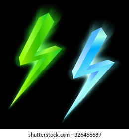 Green and blue lightning icon