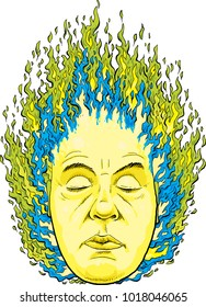 Green and blue magic fire burn brightly from the head of a mystical man.