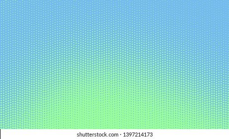 Green blue modern pop art background with dots design, abstract vector illustration in retro comics style