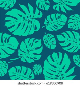 Green and Blue Monstera tropical leaf Pattern. Vector