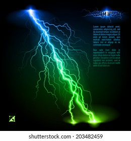 Green and blue oblique branchy lightning line. Illustration with space for text