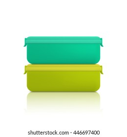 Green and blue plastic container for foods, isolated on white background. Lunch box.