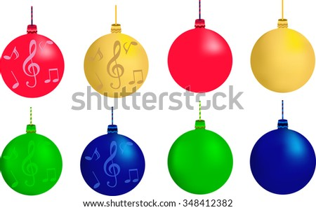 green blue red yellow christmas tree decorations with musical notes and treble clef snowflakes - Yellow Christmas Decorations
