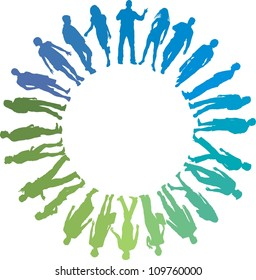 green and blue vector illustration of people in the circle