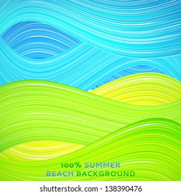 Green and blue wave background. Vector illustration for your bright natural design. Book cover. Ecological stripe wallpaper. Set of excellent summer wave. Abstract presentation of sky and ground.