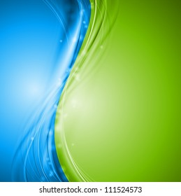 Green and blue wavy design. Vector illustration eps 10