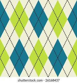 Green, blue and white seamless argyle pattern