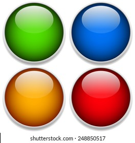 Green, blue, yellow and red glossy spheres with frames