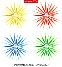 Green, Blue, Yellow and Red Watercolor Vector Sunburst Flower
