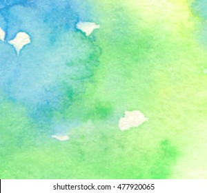 Green blue yellow watercolor hand drawn paper texture vector banner. Abstract water color stylized nature brush paint splatter background for text design, card