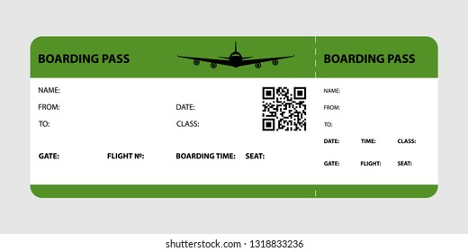 Green boarding pass isolated on a gray background. Vector illustration.