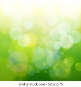 green bokeh abstract light background. Vector illustration