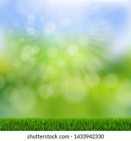 Green Bokeh With Green Grass Border With Gradient Mesh, Vector Illustration