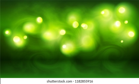 Green bokeh lights in smoke, vector abstract background
