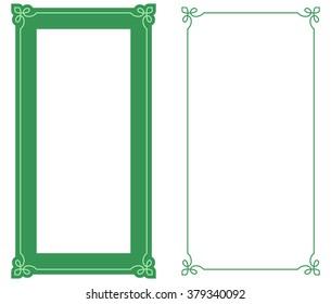 Green border frame deco vector art simple line corner