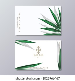Green botany business card template with tropical lush foliage on white background and line art leaf logo.