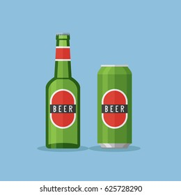 Green bottle and can with beer on blue background. Flat style vector illustration.