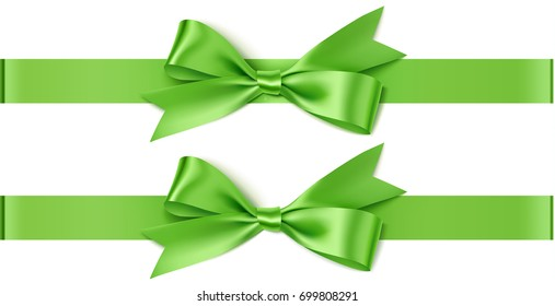 Green bow with horizontal ribbon isolated on white for page decor. Vector decorative bow