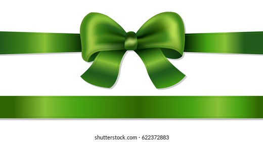 Green Bow Isolated Gradient Mesh, Vector Illustration