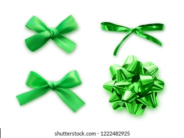 Green Bows set of realistic, isolated on white background.