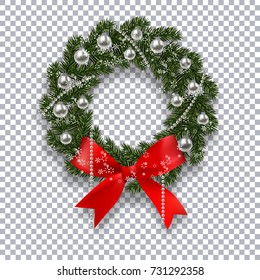 A green branch of spruce in the form of a Christmas wreath with shadow and snowflakes. Red bow, silver balls and beads on the background checkers. Vector illustration