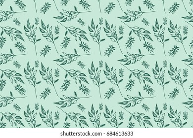 Green Branches Seamless Vector Pattern