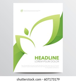Green brochure or annual report modern leaf cover design template. Vector illustration.
