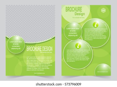 Green Brochure template flyer design, abstract template for annual report, magazine, poster
