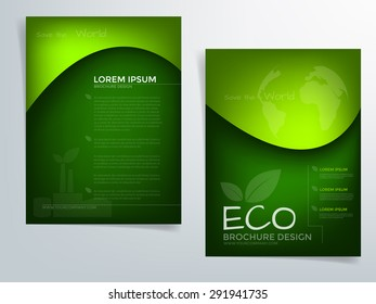 Green brochure template vector background flyer design with green concept elements eco idea and sample text for text and message brochure artwork design in A4 size