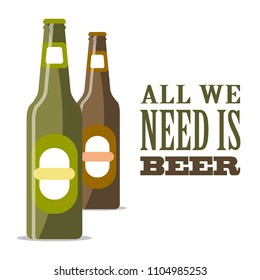 Green and brown bottles of beer on a white background with text