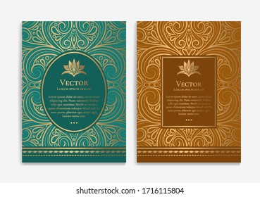 Green, brown and gold luxury invitation card design. Vintage ornament template. Can be used for background and wallpaper. Elegant and classic vector elements great for decoration.