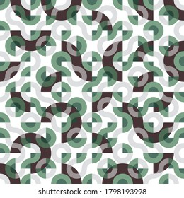 Green and brown seamless Truchet vector repeat design. Geometric pattern for wallpapers, web page backgrounds, surface textures, fashion fabric, carpet design, curtains and home décor.