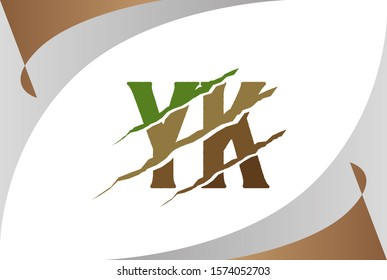 Green brown soil YK letter template logo design with scratch effect