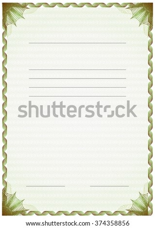 green brown vertical frame diploma certificate stock vector royalty