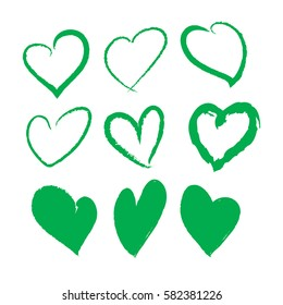 green brush stroke hearts set. hand drawn. design element for valentines day