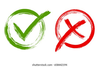 Green brush symbolic OK and red X icon isolated on white.Tick and cross signs, check marks graphic design. YES and NO acceptance and rejection symbol vector buttons for vote, election choice.