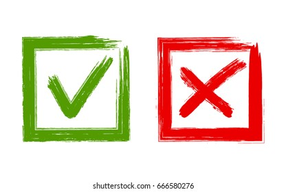 Green brush symbolic OK and red X icons in square frames. Tick and cross signs, check marks graphic design. YES and NO acceptance and rejection symbol vector buttons for vote, election choice.