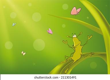 A green bug and butterflies cartoon